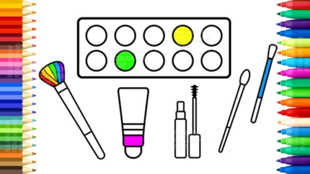 How to Draw Accessories for Girls - Makeup Set Coloring Pages for Kids and Baby