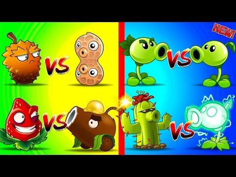 Plants vs Zombies 2 Free vs Premium Coconut Cannon vs Strawburst,  Electric Pea vs Cactus, and More