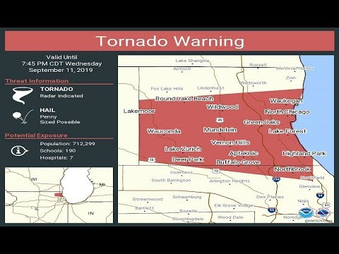 Tornado warning in effect for northern Cook County
