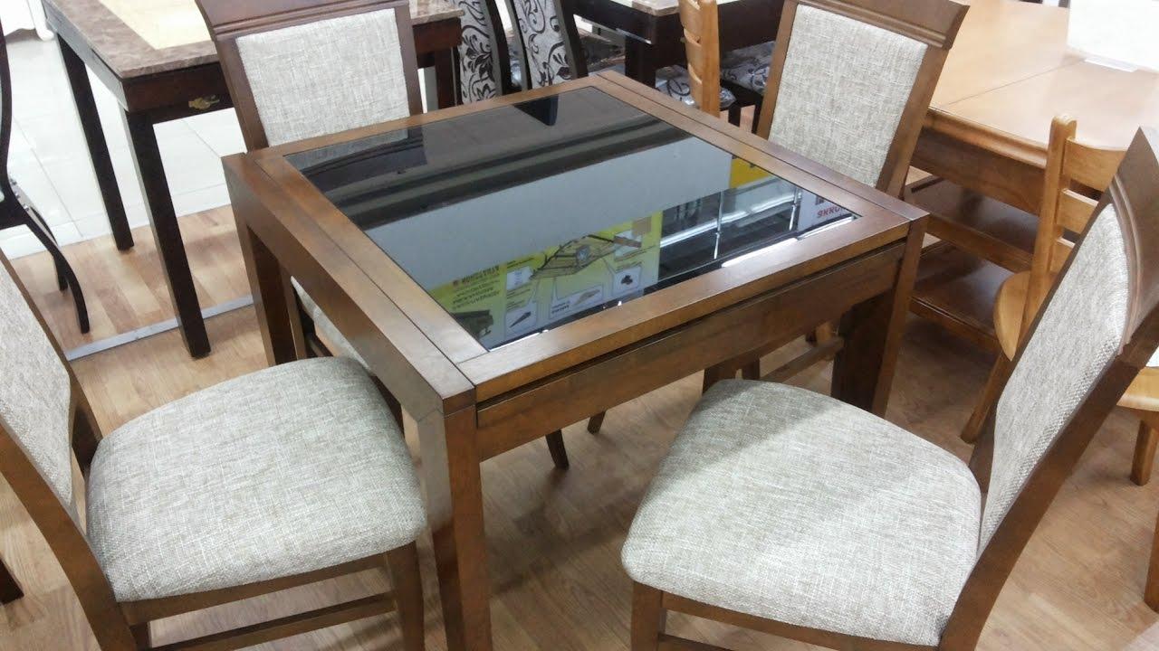 Раскладной обеденный стол B-179-49 (металл, хром, стекло) - YouTube