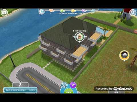 Sims freeplay maison familial pour 8 personnes youtube for Modele maison sims freeplay