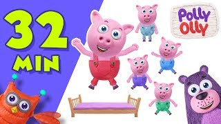 Five Little Pigs Jumping on the bed | Popular Nursery Rhymes Collection by Polly Olly