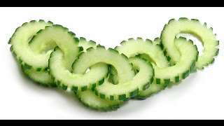 Repeat youtube video 021. Free vegetable carving course cucumber chain / Darmowy kurs carvingu łańcuszek z ogórka