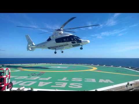 """HELICOPTER TAKING OFF OFFSHORE """"WEST PEGASUS"""" SEADRILL"""