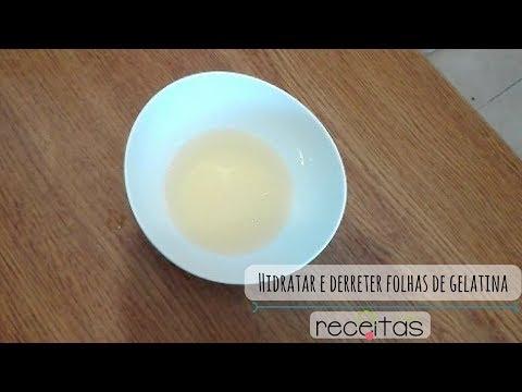 Hidratar e derreter folhas de gelatina