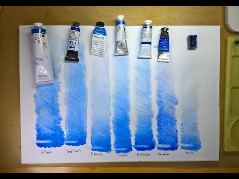 Кобальт голубой. Обзор акварельных красок от разных   производителей.