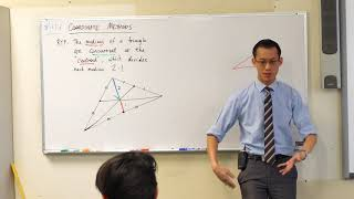 Concurrence of Medians (1 of 2: Proof via similar triangles)