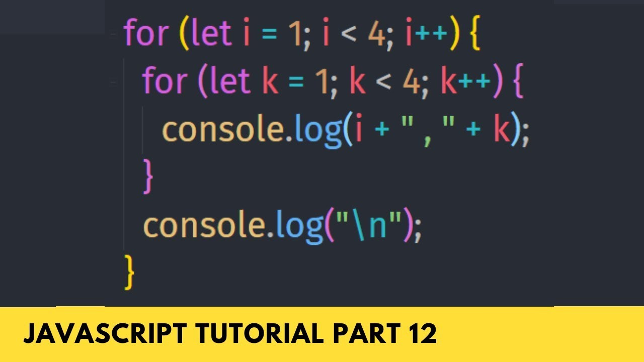Nested For Loop Important for Dynamic Array   JavaScript Tutorial Part   20