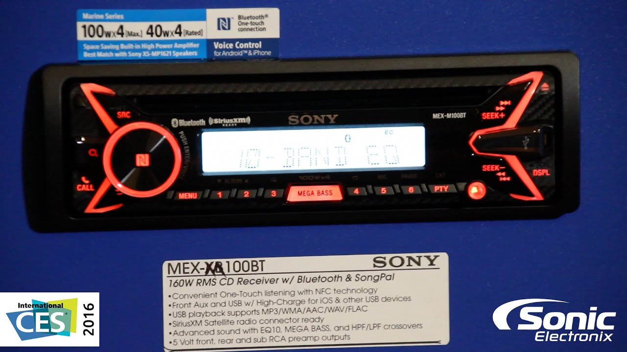 Sony MEX-M100BT 160W x 4 Amplified Marine Stereo Receiver   CES 2016