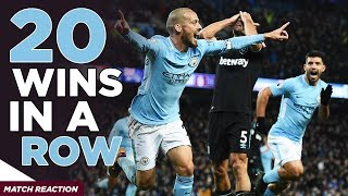 20 WINS IN A ROW | Man City 2-1 West Ham United (Otamendi, Silva, Ogbonna)