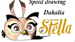 Speed drawing Dahlia (angry birds stella) | Víctor González