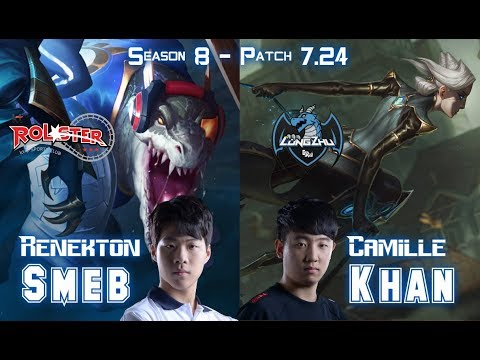 KT Smeb RENEKTON vs LZ Khan CAMILLE Top - Patch 7.24 KR Ranked