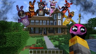 GIANT FIVE NIGHTS AT FREDDY'S APPEARS IN MY HOUSE IN MINECRAFT !! Minecraft Mods