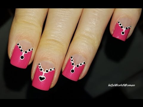 Pink Chevron Nail Art Necklace Valentine S Day Nails Youtube