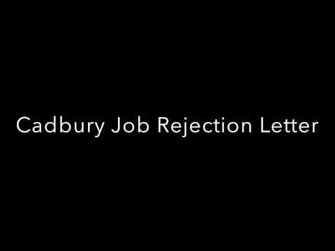 Cadbury Chocolate Job Rejection Letter