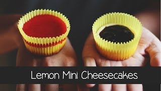 Lemon Mini Cheesecakes W/ Blueberry & Strawberry Sauce
