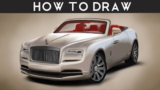 HOW TO DRAW a Rolls Royce Dawn - Step by Step | Realistic Tutorial | drawingpat
