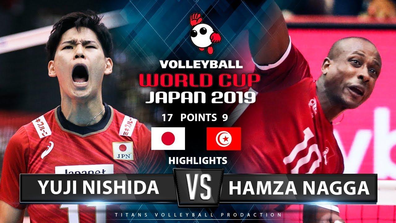 Yuji Nishida VS. Hamza Nagga | Japan VS. Tunisia | Highlights | Men's Volleyball World Cup 2019