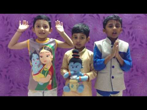Little Sankarshan in 3 Gita musketeers reciting Bhagavad Gita chapter1