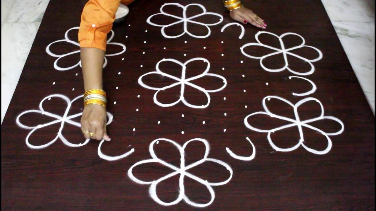 13 Dots Sankranthi Muggulu For 2018 Pongal Kolam Designs With Dots Easy And Simple Rangoli