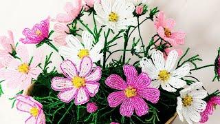 Космея из бисера Мастер Класс (авторский) Бисероплетение Цветы из бисера Cosmos flowers bead