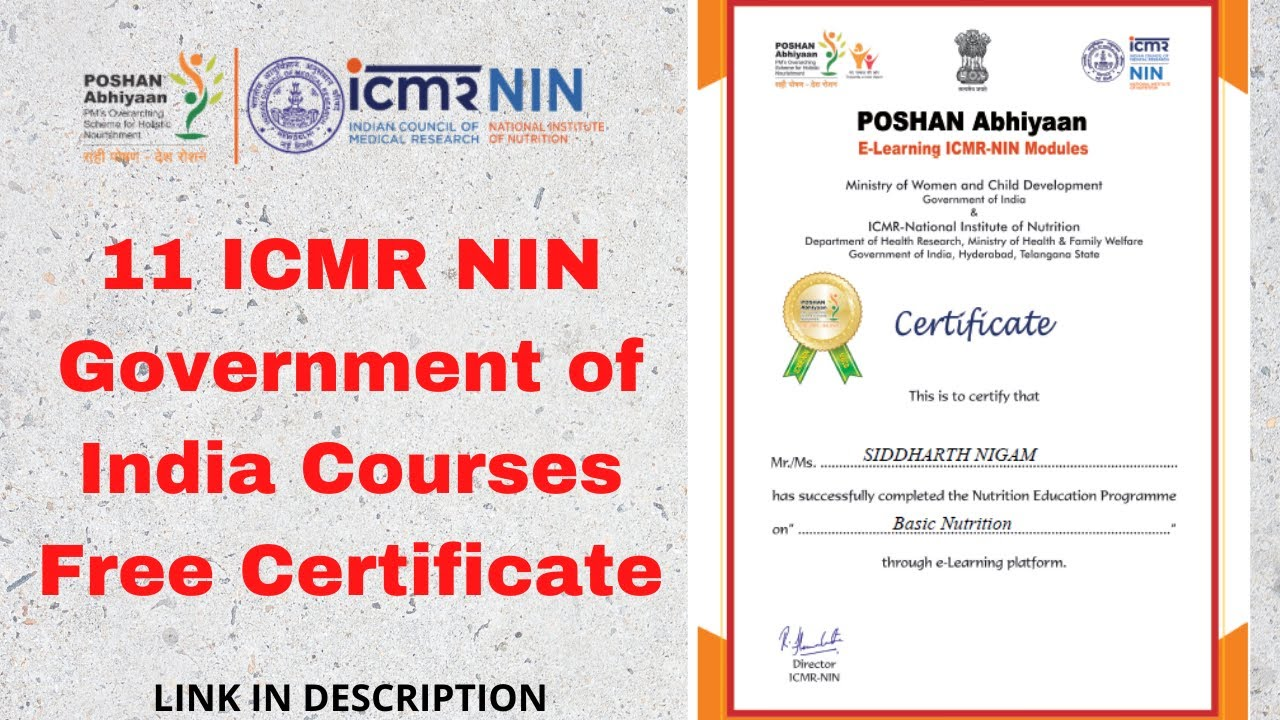 11 Icmr Nin Government Of India Courses Free Certificate 2020 Youtube
