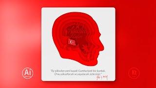 Atatürk Portre Tasarımı - Instagram Post Design - Adobe Illustrator CC 2019