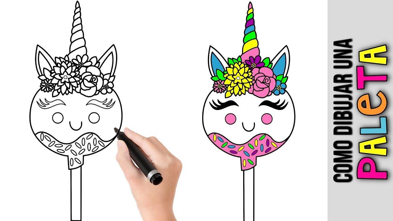 Como Dibujar Linda Paleta Unicornio Kawaii Dibujos Fáciles Para