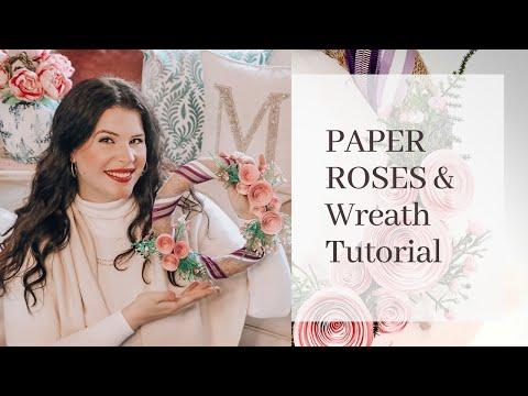 Paper Roses Wreath Tutorial - less than $10 ♡ MissJustinaMarie