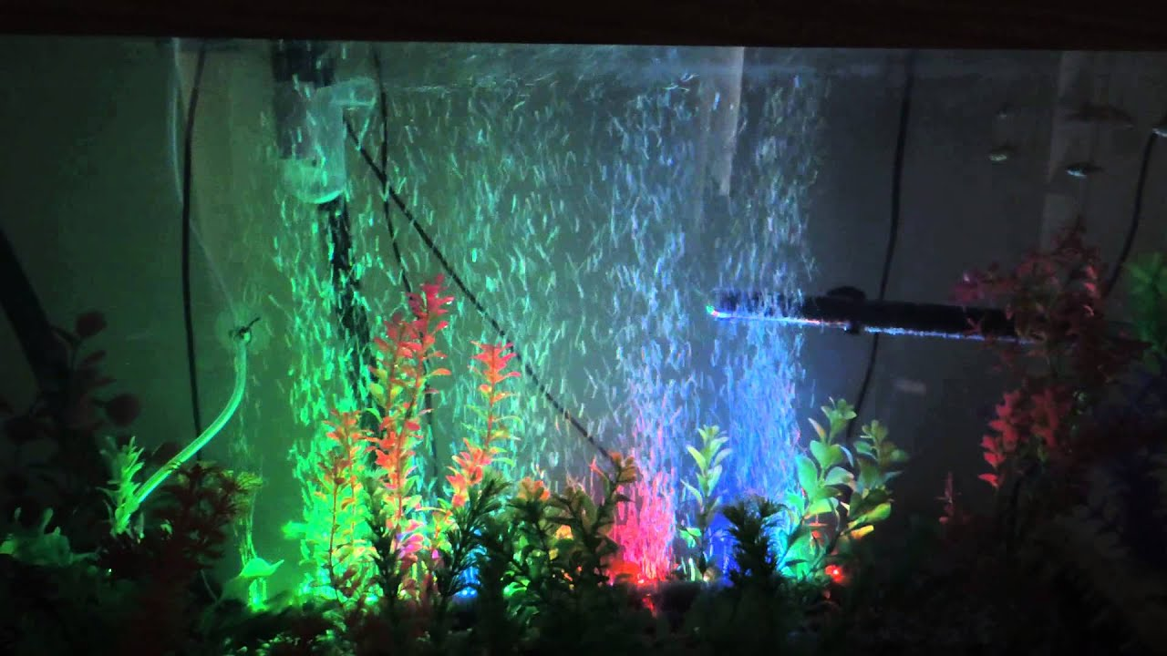 My aquarium air wall with LED lighting. - YouTube