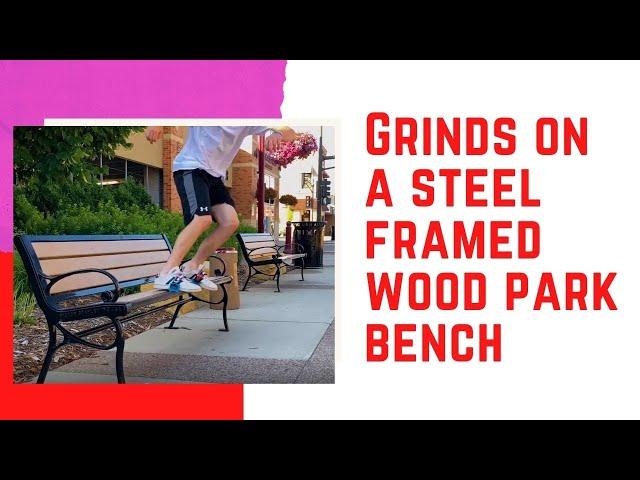 Grinds on a steel framed wood park bench | Skidz Grindplates