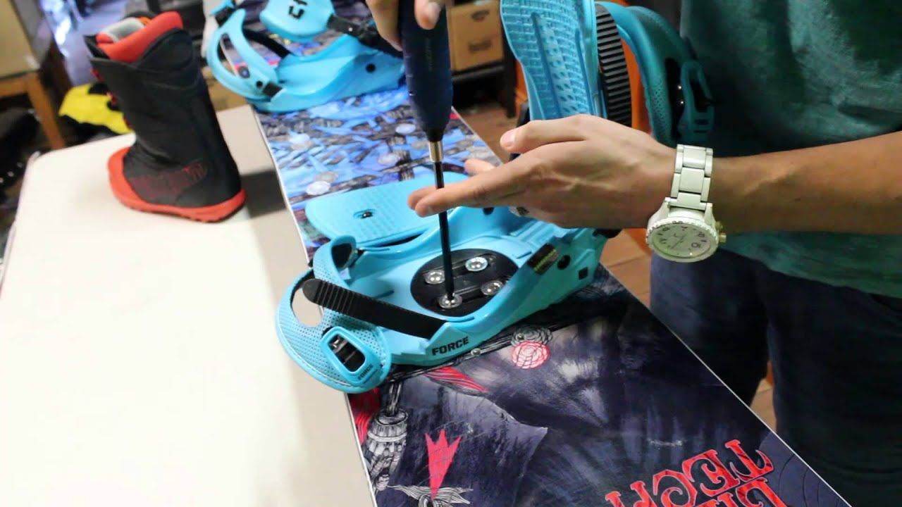 Installing the mount on a snowboard. How to choose the size of mounting for snowboard 59
