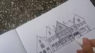 How to draw house and street scene/ QUICK AND EASY /with marker