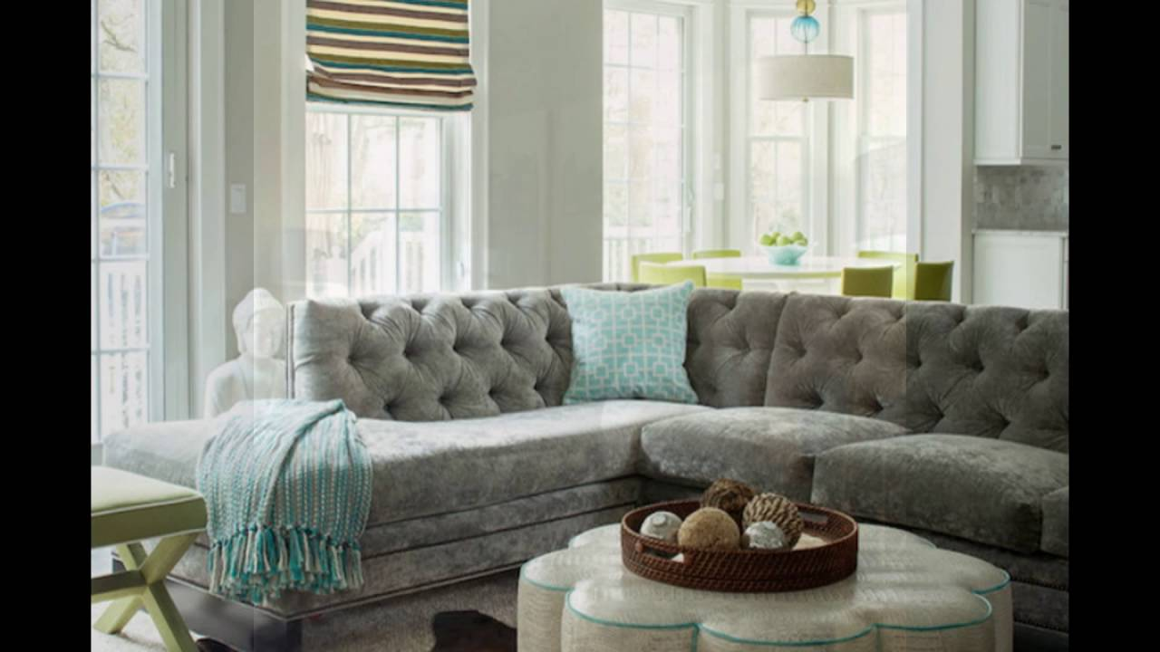 Gray Velvet Sectional Sofa For Living Room : grey velvet sectional sofa - Sectionals, Sofas & Couches