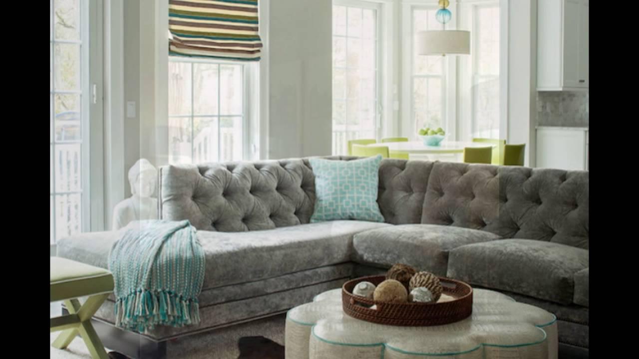 Gray Velvet Sectional Sofa For Living Room YouTube