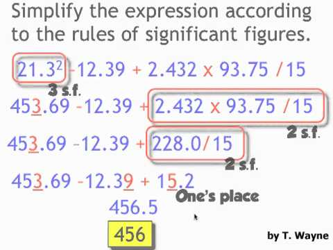 Significant Figures Example Problems Involving All 4 Operations