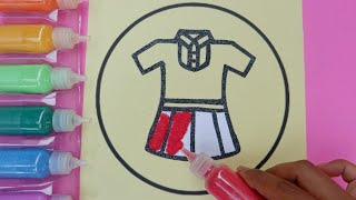 Colored Sand Painting School Uniform |Learn Colors |Toy for Kids |Video for Kids |PINK GIRL