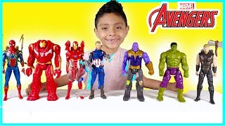 Marvel Avengers vs Thanos Hulk spider-man iron man Surprise Eggs Toys superheroes batman