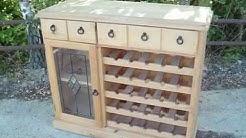Pine sideboard wine rack