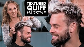 Messy Textured Quiff Hairstyle - Mens Hair 2019