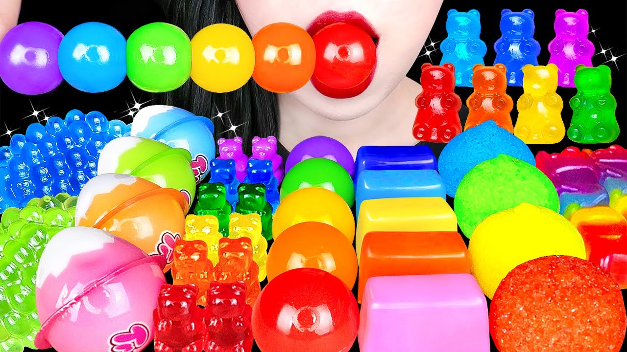 ASMR RAINBOW DESSERTS 무지개 젤리 먹방 *곰돌이 젤리, 레인보우 구미 , 건반젤리 MOST POPULAR DESSERTS EATING SOUNDS MUKBANG