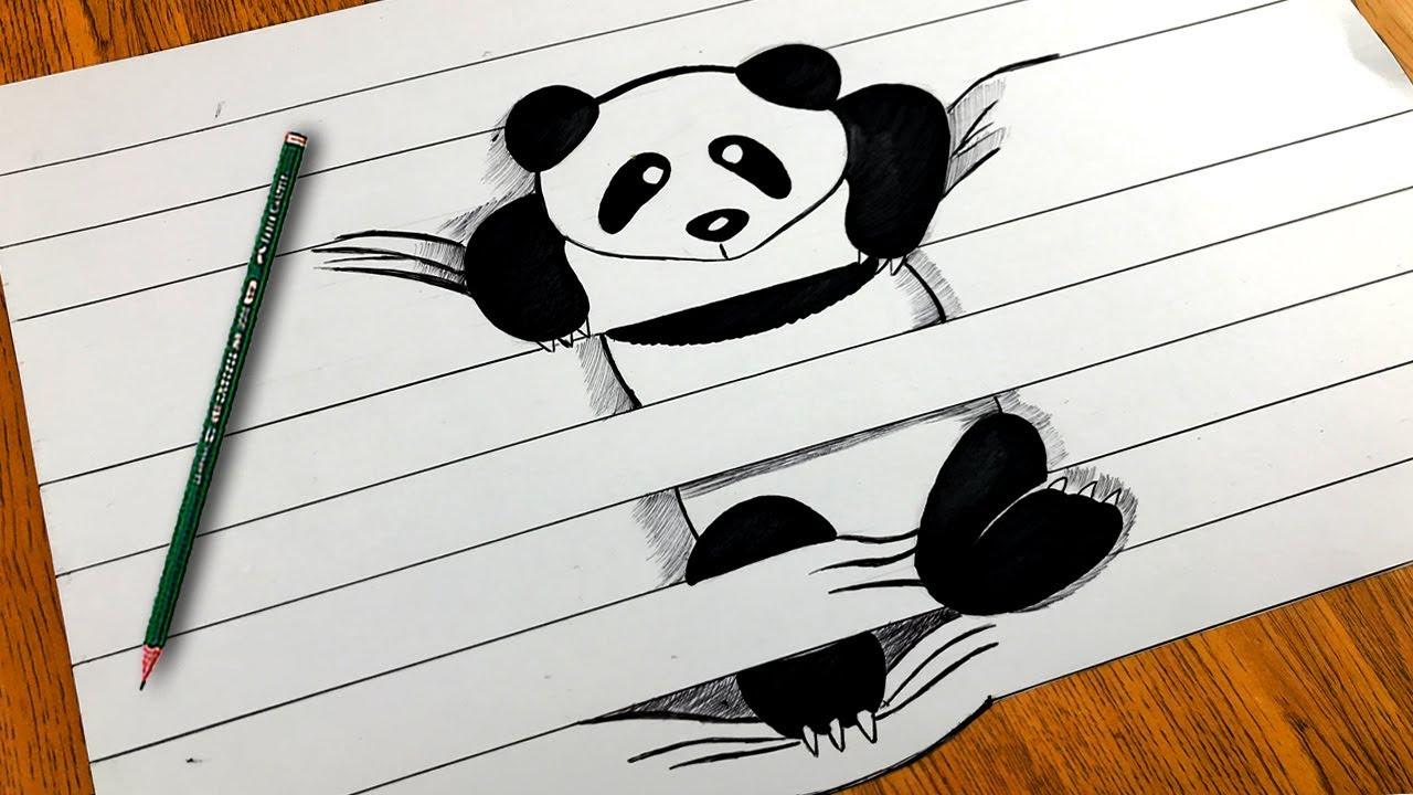 Como Dibujar Oso Panda En 3d Panda Videos Para Niños Videos Animados