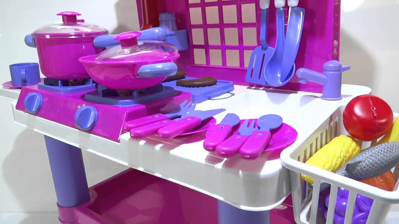 Cocina rosada de juguete para ni as con luces y sonidos for Planos para hacer una cocina de juguete