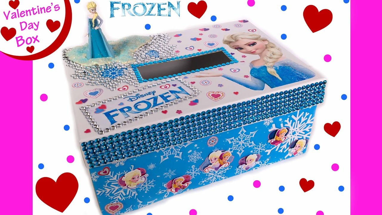 Frozen Elsa DIY Valentines Day Card Box for School Sparkle Gems – Boxed Valentines Day Cards