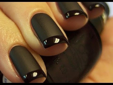 Matte Black Nails with Glossy Tip Tutorial! YouTube