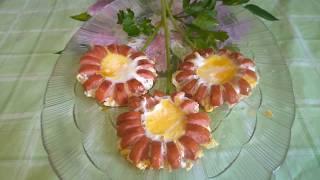 """Завтрак """"Ромашки из сосисок"""" для любимого человека за 5 мин. на 23 февраля и 8 марта"""