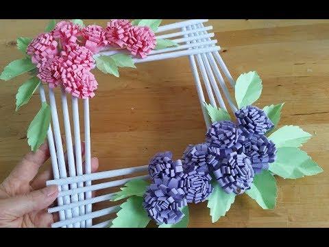 Diy Geschenk Schnell Und Einfach Bilderrahmen Fotorahmen Mit Papierblumen Basteln