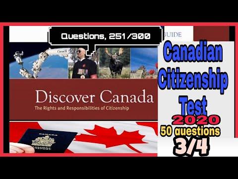 Canadian citizenship test 2020 part(3 /4)(251/300)