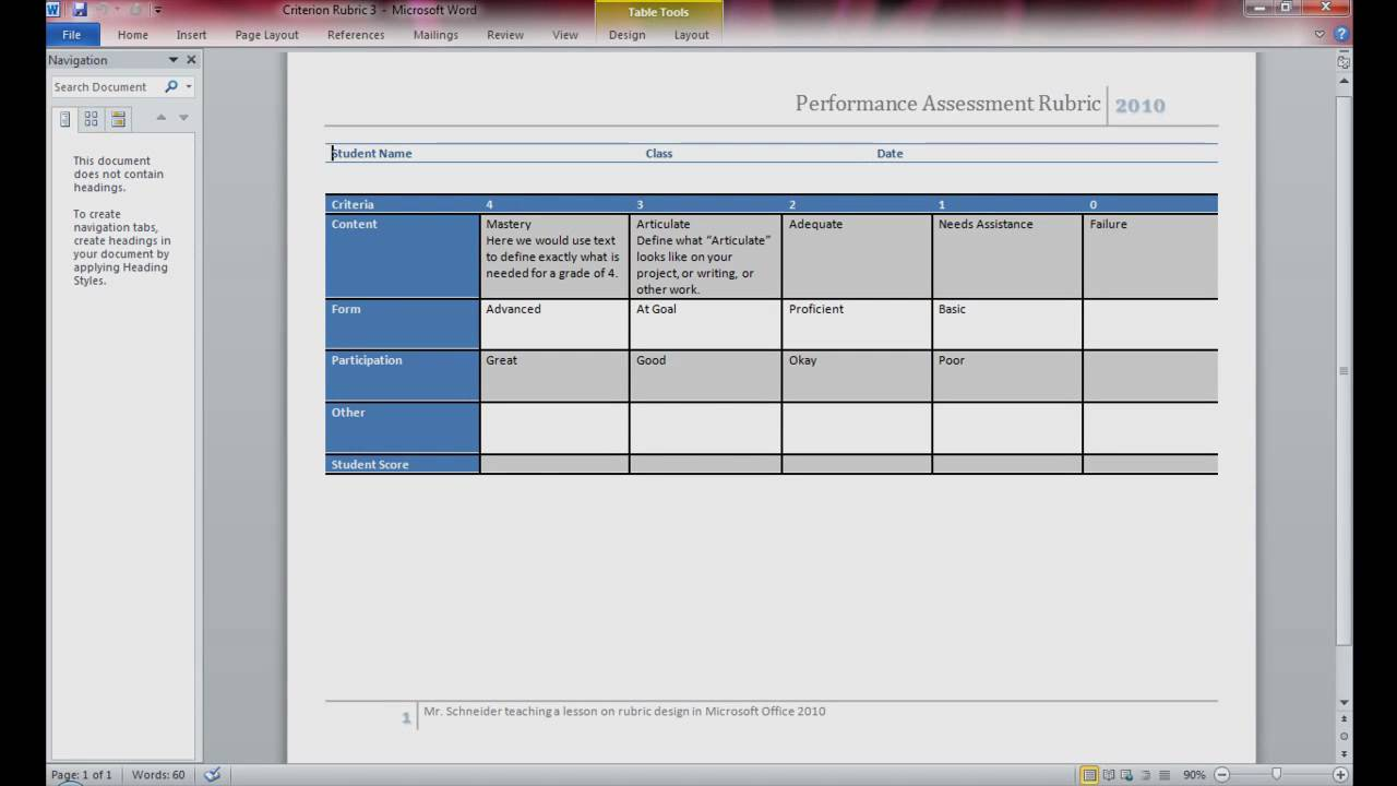 Rubric design using microsoft word 2010 pt 1 of 4 youtube for Table design ms word