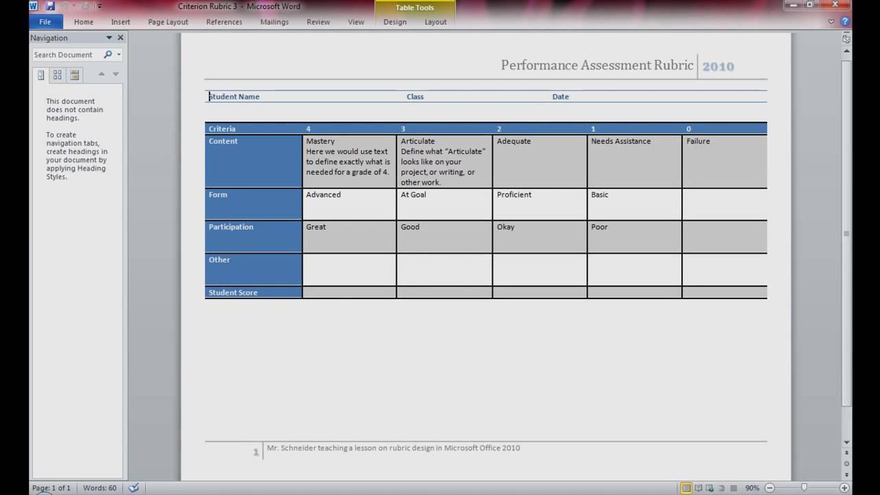 microsoft word rubric template